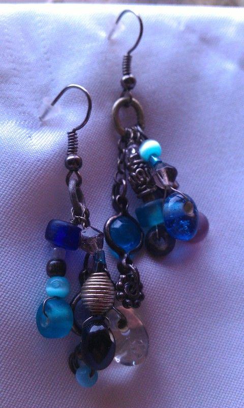 Jégkirálynő kék fülbevaló, Ékszer, óra, Fülbevaló, Meska