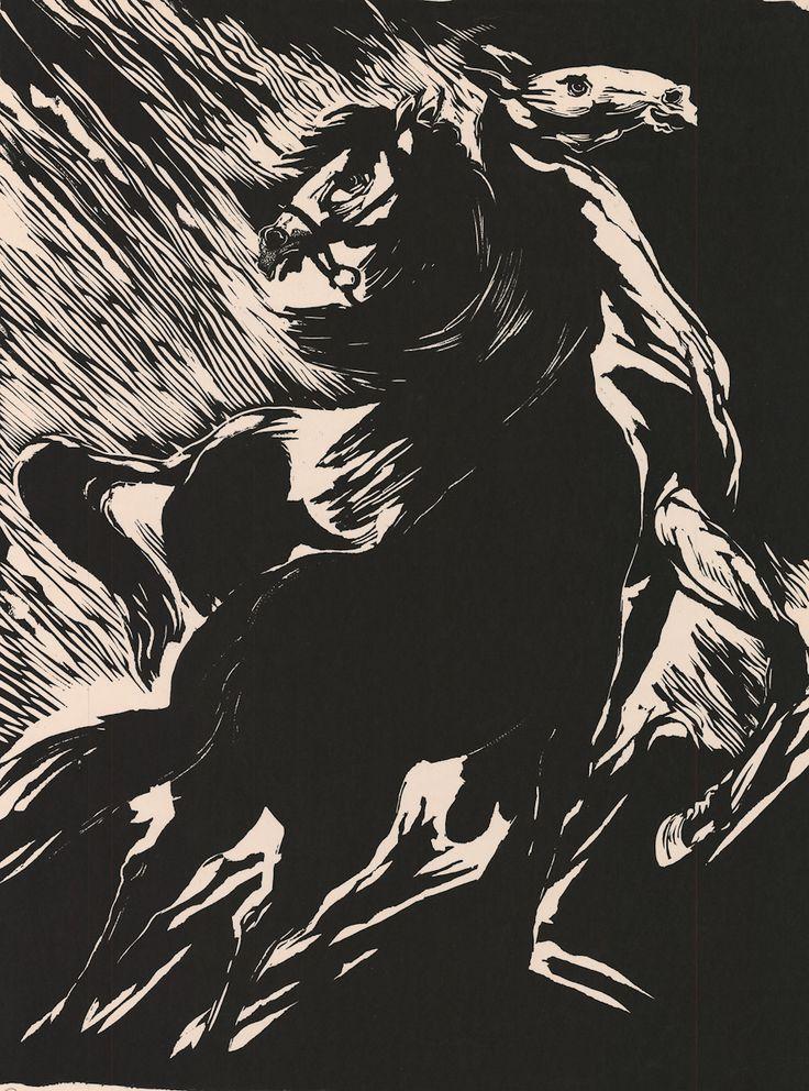 IESPIEDGRAFIKA Oļģerts Ābelīte. Zirgi mēnesnīcā.  1968. Papīrs, kokgri…