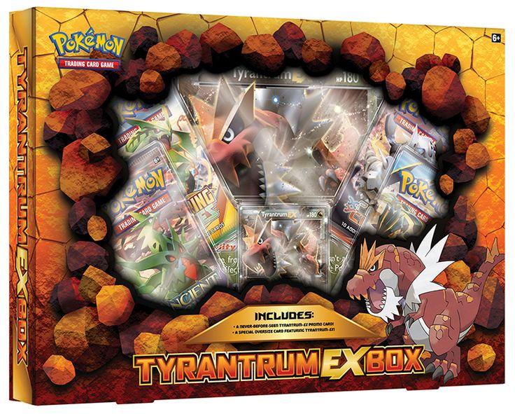 Pokemon TCG Tyrantrum Ex Box -The Pokémon TCG: Tyrantrum-EX Box includes: • Tyrantrum-EX as a never-before-seen foil promo card! • An earthshaking oversize card featuring Tyrantrum-EX! • 4 Pokémon TCG booster packs • A code card for the Pokémon Trading Card Game Online