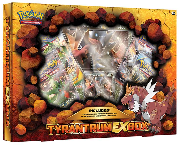 Pokemon TCG Tyrantrum Ex Box -The Pokémon TCG: Tyrantrum-EX Box includes: • Tyrantrum-EX as a never-before-seen foil promo card! • An earthshaking oversize card featuring Tyrantrum-EX! • 4 Pokémon TCG booster packs • A code card for the Pokémon Trading Card Game Online