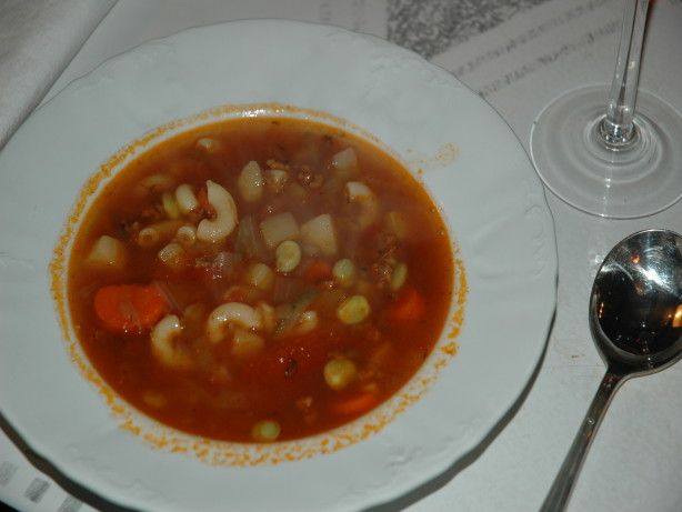I cannot believe that there are so many DIFFERENT recipes for hamburger soup! This is ours and came to us by way of Maxine, with a few modifications. This is so great in the cold of Winter. It reminds me of the bounty of Summer, and warms my heart. Definitely a comfort food. Since I use my own canned tomatoes, my soup may be thinner than the recipe would indicate. Please feel free to add more water, tomato juice, V-8 juice, or sauce to make this soup of your desired thickness or thinness!