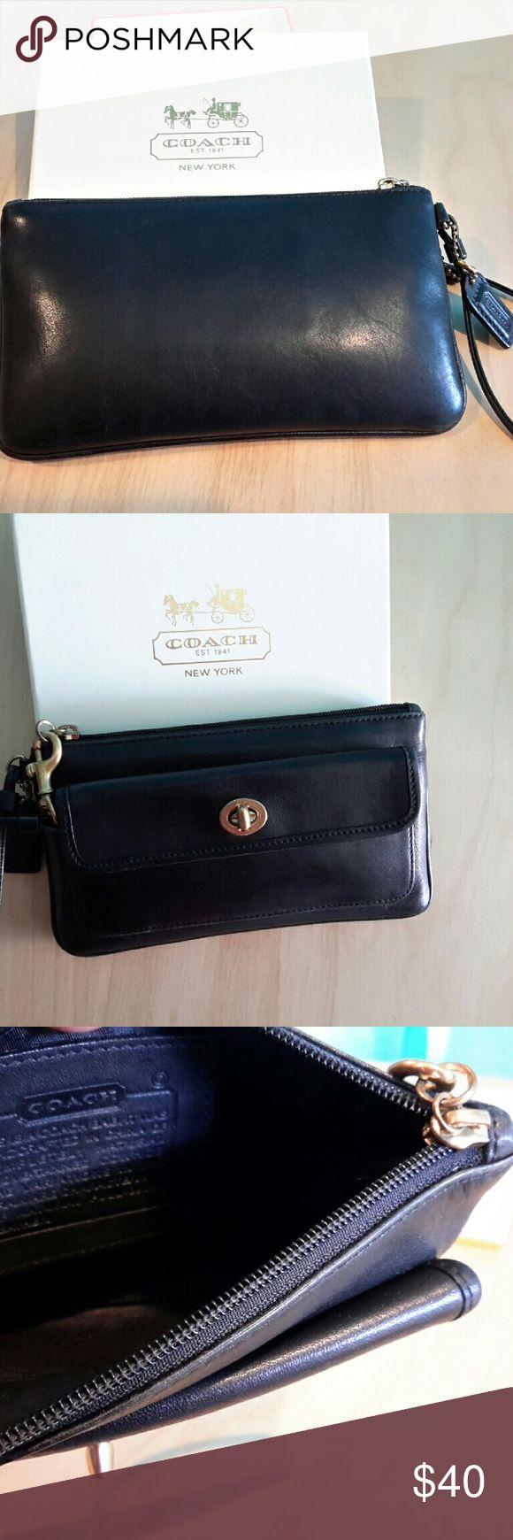 Coach legacy black leather Turnlock wristlet Authentic Coach vintage black leather wristlet w/gold hardware brand new. Never used   No TRADES!!! ( Dose Not Come With A Box ) coach  Bags Clutches & Wristlets