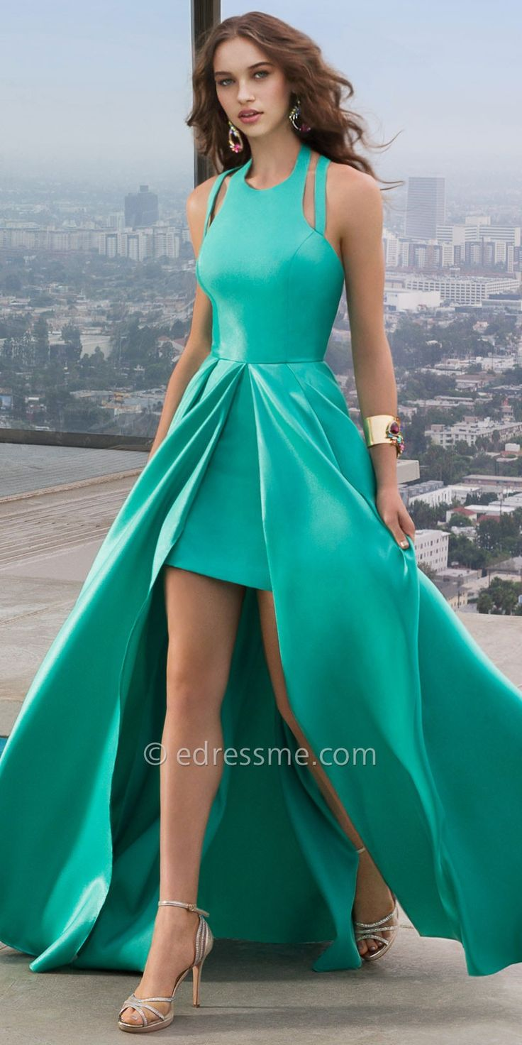 Ana Frosted Satin Prom Dress by Faviana