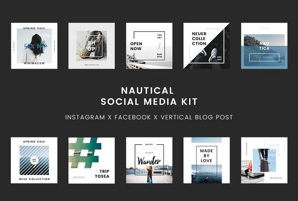 Nautical Powerpoint Social Media Kit by PitchLabs.co on @creativemarket