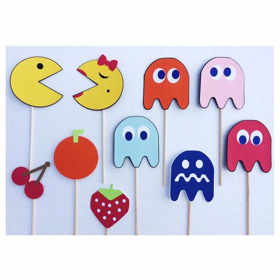 Pac Man Photo Booth Props ; 80s Birthday Party Decorations ; 30th Birthday Party Decor ; Video Game Props by Lets Get Decorative