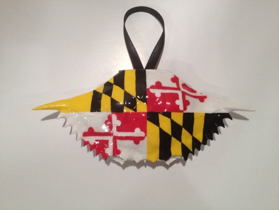 Maryland Flag Blue Crab Shell  Hand painted by gillyshop on Etsy, $17.00