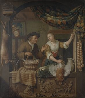 A fish seller and a poultry seller in an arched window, above a carved relief by Frans van Mieris II 1730.  A note on the theme. This was a popular theme in the 17th century as well. The woman holding the adult male bird by the legs was symbolic of women emasculating a man.