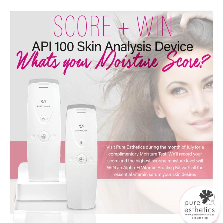 SCORE + WIN API 100 Skin Analysis Device Whats your Moisture Score? Visit Pure Esthetics during the month of July for a complimentary Moisture Test. We'll record your score and the highest scoring moisture level will WIN an Alpha-H Vitamin Profiling Kit with all the essential vitamin serum your skin desires#skincare #api100 #alpha-h For more information or a booking please contact us at +2711 784 1168 #Aesthetics #Beauty #PureEshetics