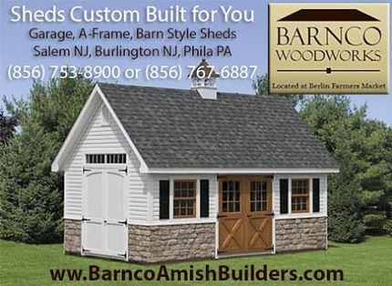 http://www.barncoamishbuilders.com If you live in Southern NJ or Greater Philadelphia, and are in need of more outdoor storage, and want a shed that's quality made, then you need to call Barnco Woodworks. Our custom sheds are manufactured by Amish Craftsm