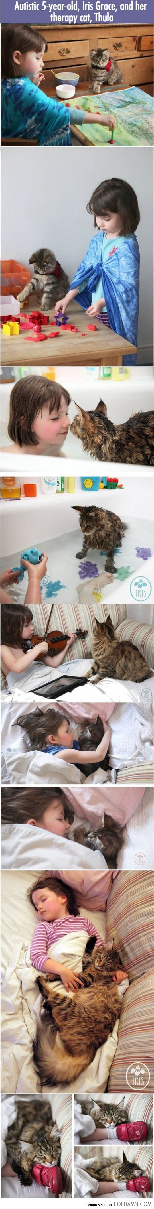 Amazingly cute: Autistic girl and her therapy cat. This is possibly the most adorable thing I've seen!
