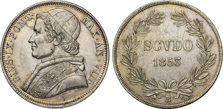 NumisBids: Numismatica Varesi s.a.s. Auction 65, Lot 851 : PIO IX (1846-1878) Scudo 1853 VIII, Roma. Pag. 395 Ag •...