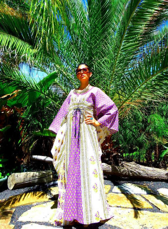 60's 70's RARE India NAQUI Boho Hippie Goddess cotton Vivid Purple floral paisley block print bat wing sleeve caftan maxi dress