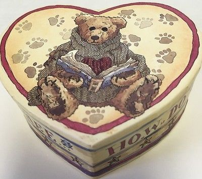 "VALENTINES GIFT Box 4"" Heart Shaped Boyd's Bears Vintage 1997 How Do I Love Thee"