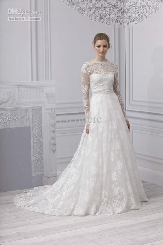 Wholesale 2013 Muslim Long Sleeves Lace Wedding Dresses Bateau Court Train Backless Sexy Bridal Gown, Free shipping, $227.81~228.9/Piece   DHgate Mobile