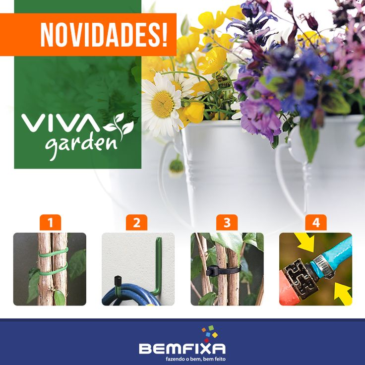 Conheça os novos produtos da nossa marca VIVA Garden.  1 - Arame Multiuso - http://bit.ly/2bxS57N 2 - Suporte Multiuso - http://bit.ly/2bk3EjU 3 - Kit de Abraçadeiras - http://bit.ly/2beV7No 4 - Abraçadeira para Mangueira - http://bit.ly/2bfZ8Wn