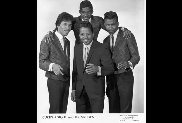 Press shot for Curtis Knight and the Squires from 1965, featuring a young Jimi Hendrix.