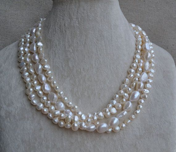baroque pearl necklace -4 rows pearl necklace,18 inches 6-12mm Ivory Freshwater pearl necklace-Free Shipping