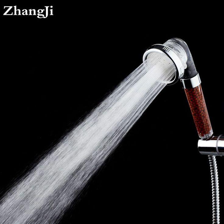 ZhangJi Water Saving Spa shower head 3 modes High pressure handheld shower filter 2 colors round shower nozzle head sets ZJ094