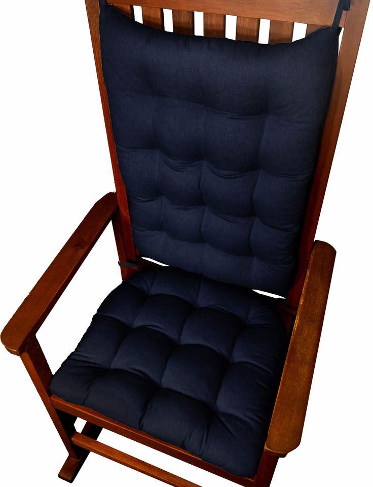 Cotton duck navy blue rocking chair cushions latex foam