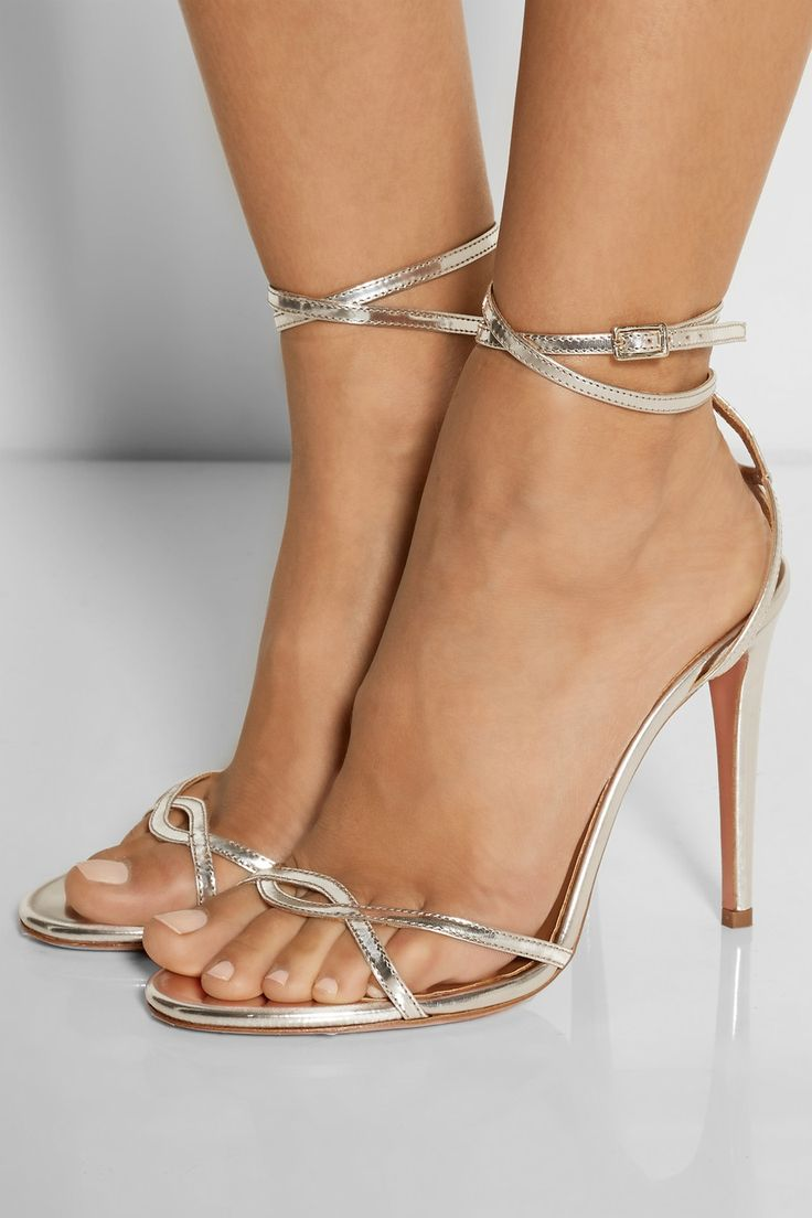 Aquazzura | + Olivia Palermo mirrored-leather sandals | NET-A-PORTER.COM
