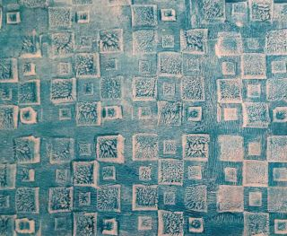gelli plate   Image Artistry First layer I used textures.  My favourite were a fun foam stamp, bubblewrap (awesome), wallpaper and a grouting tool to make lines: