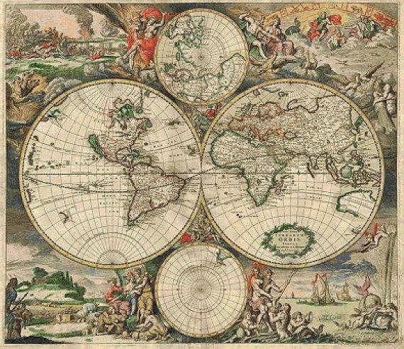 Vintage world map cross stitch