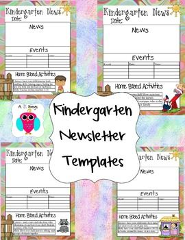 This is a set of 34 Kindergarten Newsletter Templates that include ideas for some basic home activities for both Literacy and Math.  They are editable in text boxes using Word 2013 on a PC.