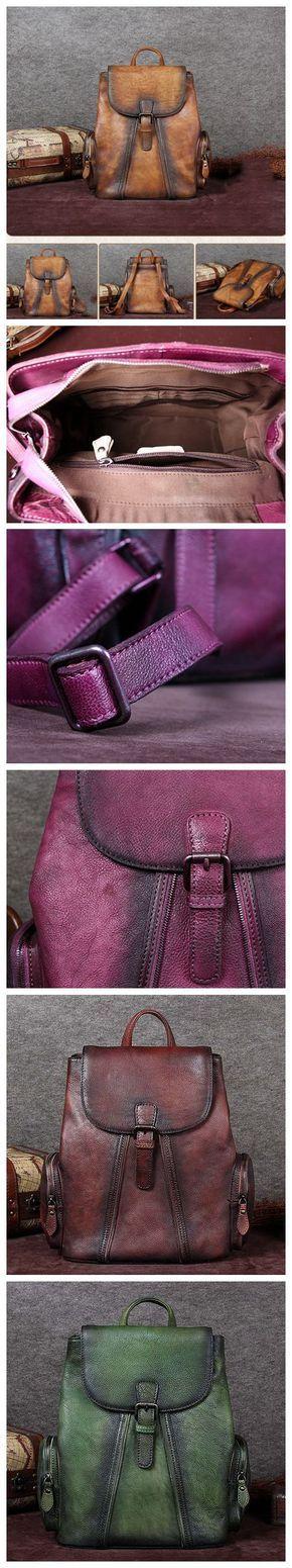 Handmade Leather Backpack, Vintage Rucksack, School Backpack A0136