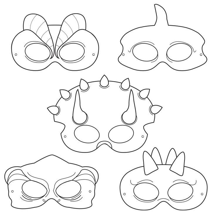 dinosaurs printable coloring masks  dinosaur masks  triceratops mask  trex mask  pterodactyl