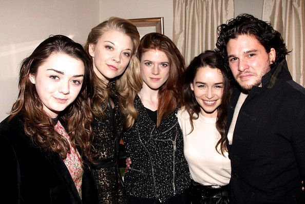 Maisie Williams, Natalie Dormer, Rose Leslie and Kit Harington with Emilia Clarke at the backstage of the play 'Breakfast at Tiffanys' (March 26, 2013)