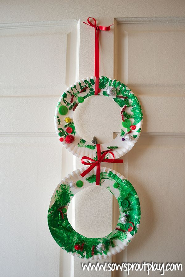 Simple Toddler Christmas Crafts - Paper Plate Christmas Wreath