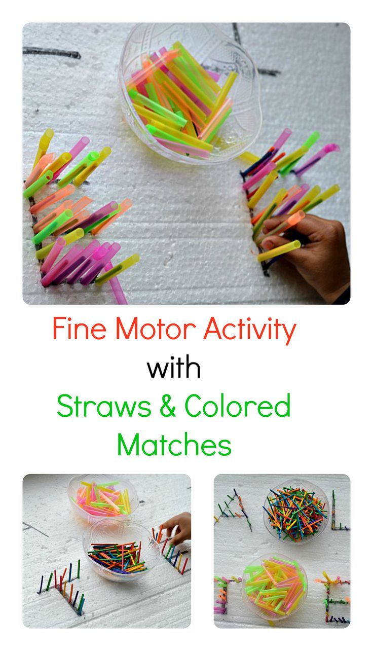 Pre-writing with straws and craft colored sticks. #finemotoractivities.