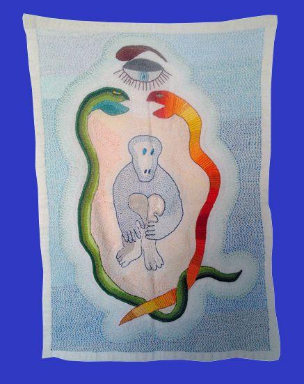 Bordado en osnaburgo con hilos de seda y algodón
