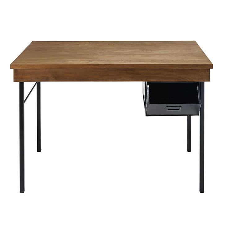 Scrivania stile industriale 1 cassetto in legno massello di quercia e metallo nero Hipster   Maisons du Monde