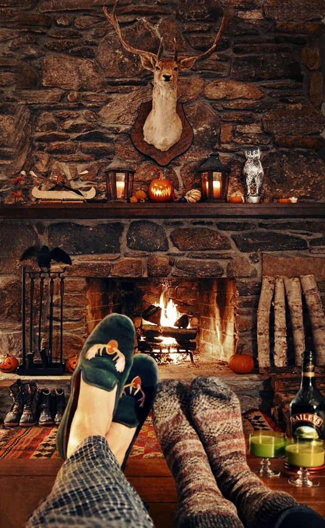 At the Cabin: Cozy by the fire on a brisk Autumn weekend.
