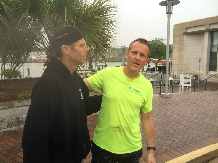 John Durant and Karl Joseph after completing the coastal Georgia greenway run in 44 without sleep - 155 miles from st. Mary's, Georgia to hutchinson island, Georgia in savannah! Amazing runners! #ultrarunning #cgg155