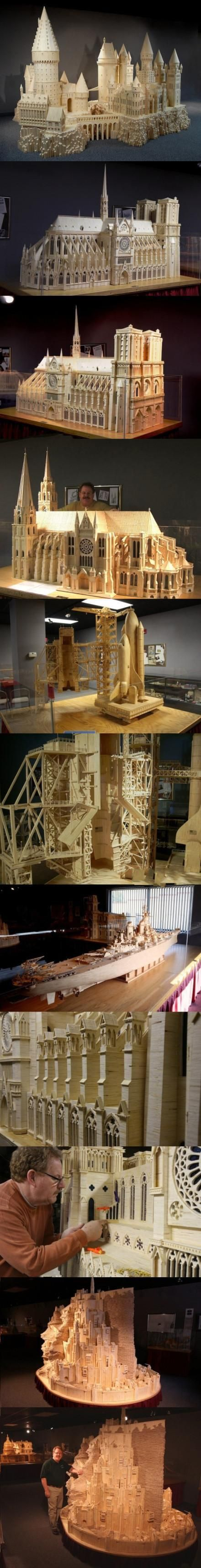 amazing art - Patrick Acton's 420,000-matchstick model of Tolkien's Minas Tirith (City of Kings) which took almost 3 yrs 2 build