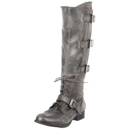 Gray knee high boots with buckles and laces