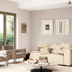 Love the whole colour scheme! Windows wall: Mellow Mocha. Back wall: Perfectly Taupe.  Picture frames: Simply Pearl  All Dulux paints.