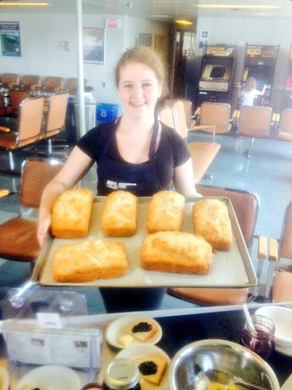 Delicious homemade Beer Bread served up by Chef Ilona and her team on NFL Ferries