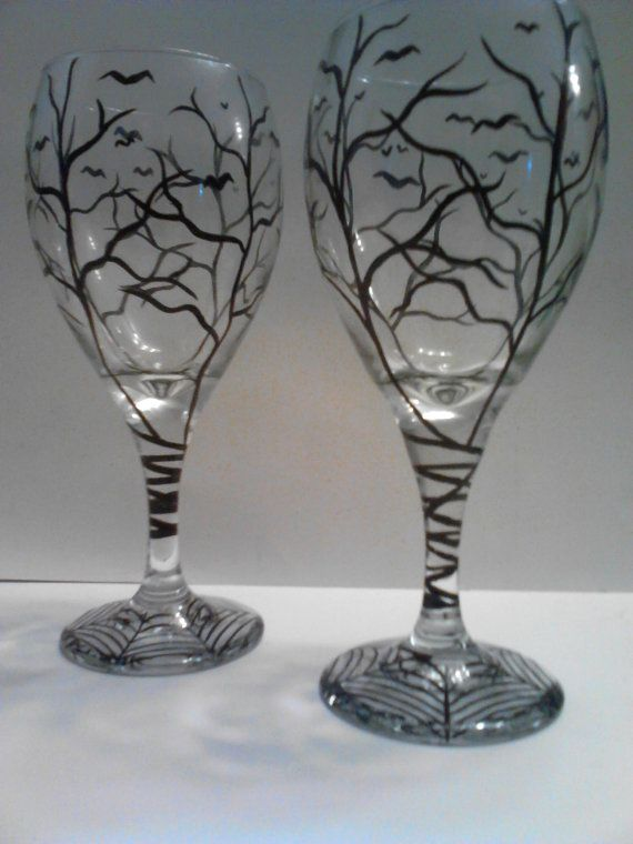 haunted halloween wine glasses by on etsy my personal images are used