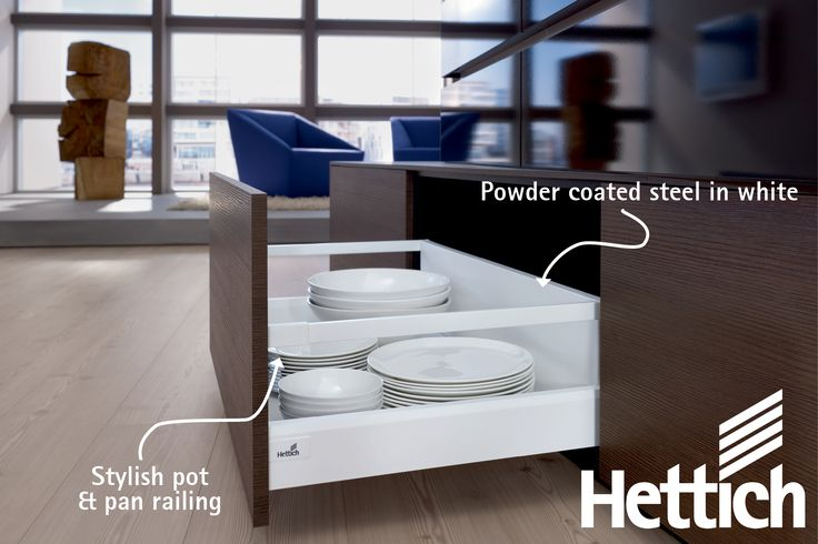 Get incredible design flexibility with the ArciTech drawer from Hettich. The timeless, sleek design first perfectly into any kitchen or home environment. Made of high quality materials, the components are colour coordinated – for a consistent design thread with infinite potential for creativity. Click on the pin for more inspiration & information! #kitchendrawers #kitchendesign