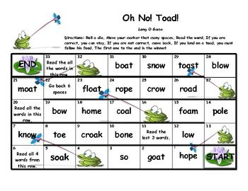 "Freebie! Long O ""Oh No Toad!"" board game TpT"