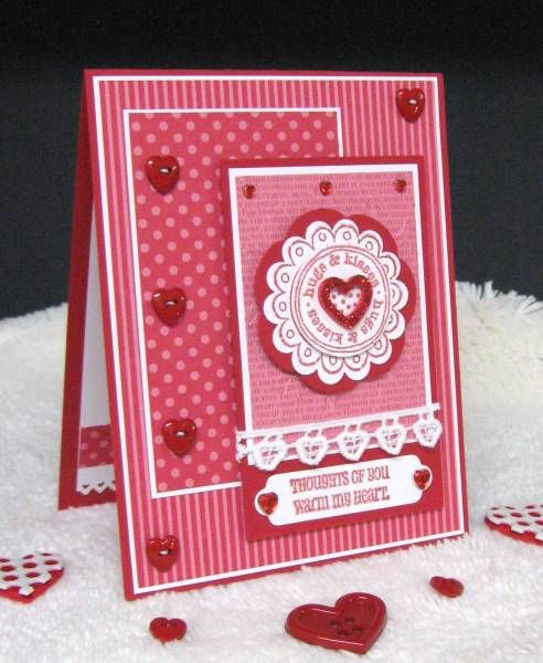 handmade Valentine: Got Hearts? ... lots of layers ... patterned papers ... many hearts ... interesting layout ... like it!