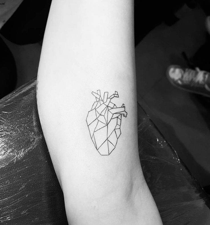 Geometric heart tattoo, for all those near to me have conquered