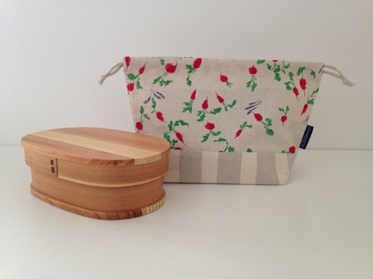 Gardening bento bag. Carrots, radishes and turnips in linen and canvas print.