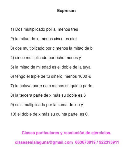 Ejercicio propuesto 2 de Expresiones Algebraicas.
