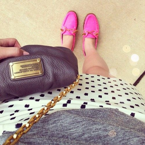 hot pink sperrys + marc jacobs