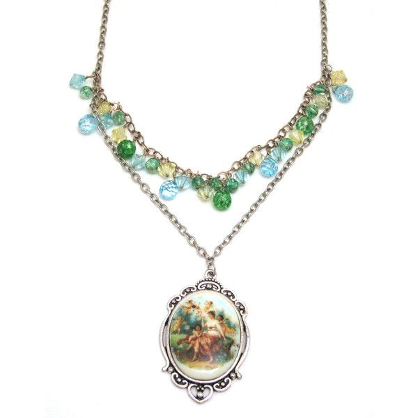 cherub cameo necklace, cherub necklace, cherub lady cameo necklace,... ($33) ❤ liked on Polyvore featuring jewelry, necklaces, angel, cherub, pastel, cameo pendant, crystal pendant necklace, double layer necklace, multi layer necklace and layered necklace