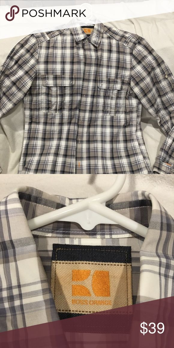 Men's dress shirt Boss Orange dress shirt. There are 2 pockets on front. Black, grey and white plaid dress shirt. Looks amazing w jeans. Very trendy. Gently worn. Dry cleaned BOSS ORANGE Shirts Casual Button Down Shirts
